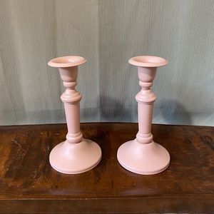 Vintage Accents - Upcycled 2PC Candlestick Holder Set in Rustic Pink